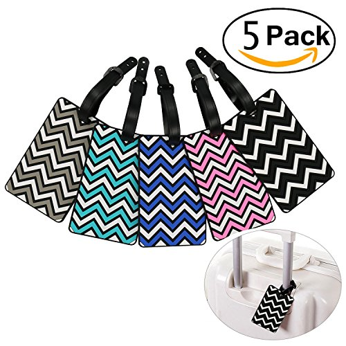 Pack of 5 Plastic PVC Luggage Tags Travel Suitcase Labels Business Card Holder with Adjustable Strap (Wavy Stripe) - Pvc Labels