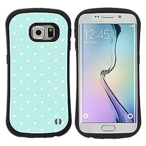 """Hypernova Slim Fit Dual Barniz Protector Caso Case Funda Para Samsung Galaxy S6 EDGE [Patrón de los corazones del trullo Papel pintado rústico Amor""""]"""