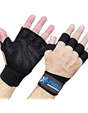 XPOWER High Quality Ventilated Weight Lifting Gloves with Wrist Wraps - Great for Pull-Ups, Gym Workout, Cross Training & Powerlifting - Suits for Men & Women