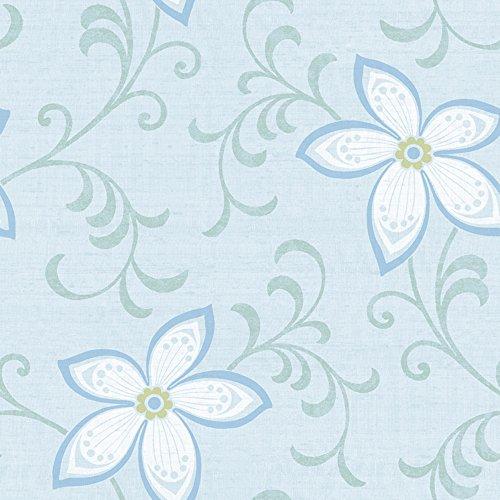 (Chesapeake CHR11635 Khloe Light Blue Girly Floral Scroll Wallpaper)