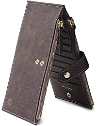 Women's Wallet Credit Card Holder Genuine Leather Zipper Purse With RFID Blocking