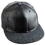 Samtree Unisex Snapback Hats,PU Leather Hip Hop Flat Bill Baseball Cap (03-Dark Grey)