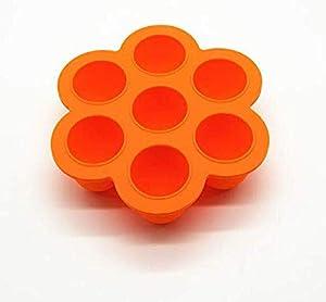 SAYGOGO 7-Hole Silicone Children's Food Supplement Box/Crisper/Jelly Ice Cube with Lid, Orange, 8.25x8.25x1.97
