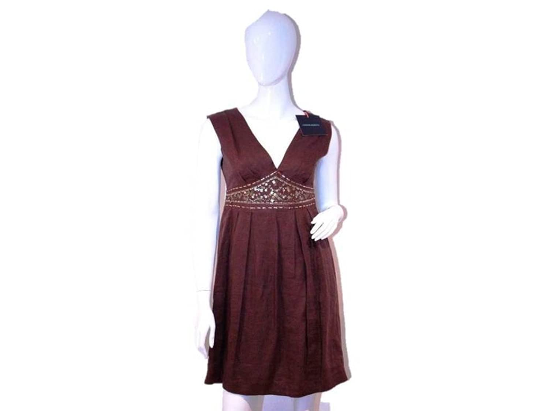 Cynthia Rowley Women's Beaded Waist Dress, Brown, 4