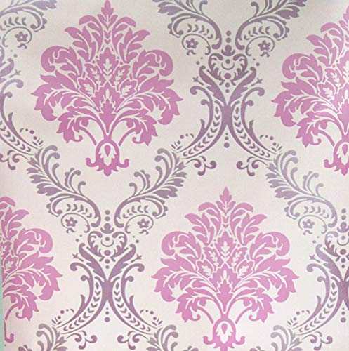 Blooming Wall Pink Damasks Peel&Stick Wallpaper Self-Adhesive Wall Mural Wall Decor Contact Paper, 48 Square Ft/Roll (Pink)]()