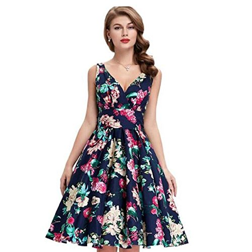 [Kinghard Women Summer Style Floral Print Maxi Sleeveless Dresses With Belt (S, Dark Blue)] (60s Dress Up Ideas)