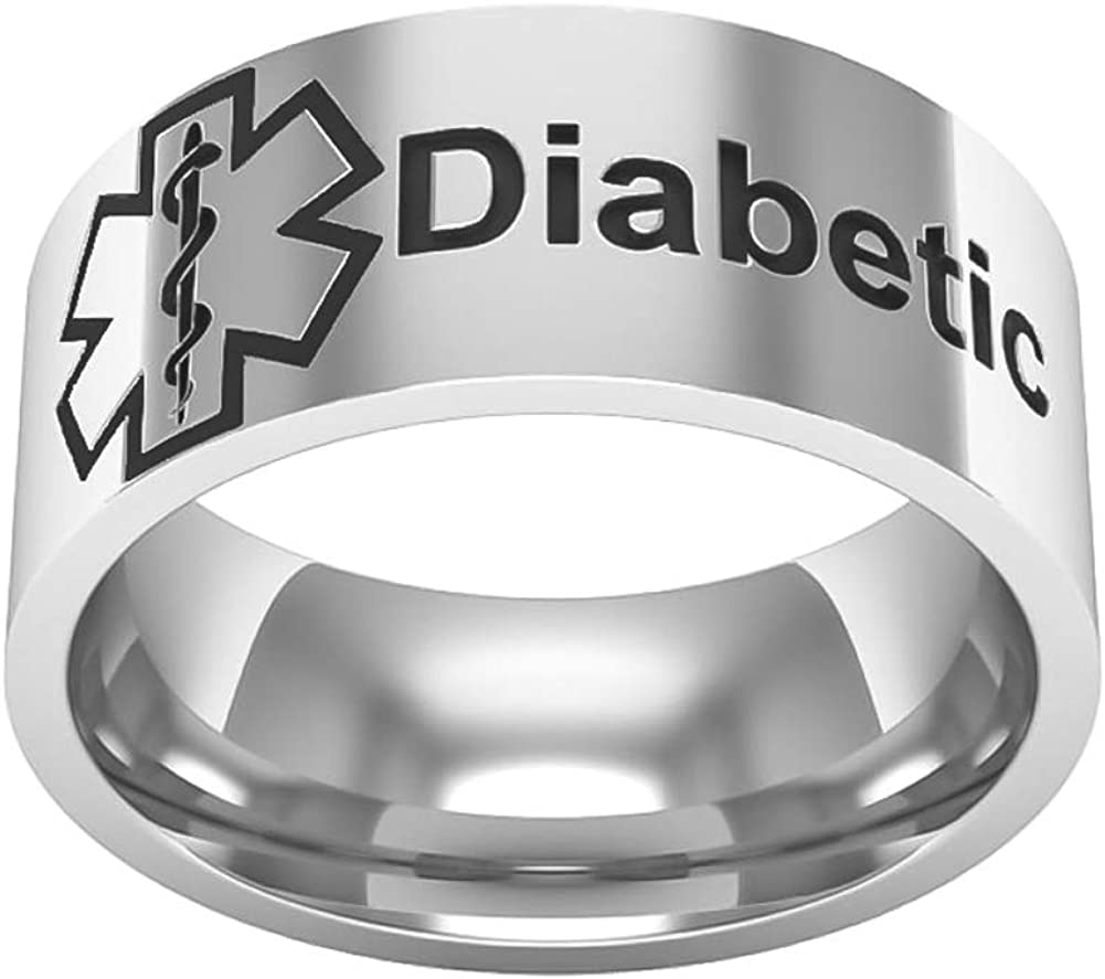 Sping Jewelry Star of Life Diabetic Ring Medical Alert Diabetes Emergency Warning Band Size 6-13