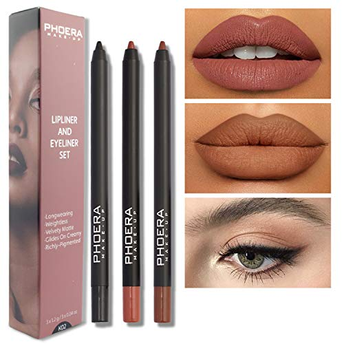 MAEPEOR Matte Lipliner and Eyeliner Kit 3 PCS Smoothly Creamy Lipliner and Eyeliner Pen Set for Daily Wear (3PCSKit 2)