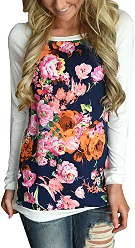 HOTAPEI Women Casual Floral Print Long Sleeve Round Neck Shirts Blouse Tops
