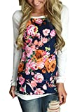 HOTAPEI Women Casual Floral Print Long Sleeve Shirts Round Neck Blouse Tops White Medium