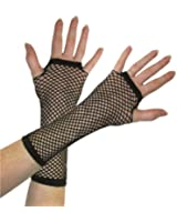 BLACK FISHNET GLOVES SLEEVES MID-LENGTH BURLESQUE SLEEVES PUNK FASHION ACCESSORY by Partyrama