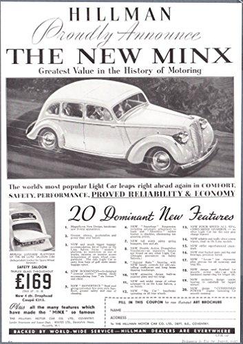 Synchromesh Gear - 1937 Print Ad Hillmann Minx Synchro-mesh Gearbox Autos Printed Advertisment