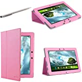 i-Blason Asus Transformer Pad Infinity TF700T TF700 10.1 Tablet 100% Genuine Leather Folio Carry Case / Stylus / Cover With Adjustable Stand-Three Year Warranty (Pink)