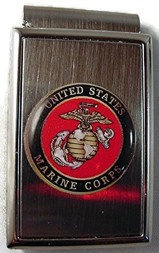 USMC US MARINE CORPS LOGO ON STAINLESS STEEL MONEY CLIP