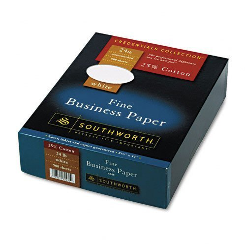 Southworth : Credentials Collection Fine Business Paper, White, 24lb, Letter, 500 Sheets -:- Sold as 2 Packs of - 1 - / - Total of 2 Each by Southworth