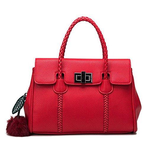 Femmes Sac Casual Sac à Bandoulière Vintage Sacs à Main Cross Body Bag Grande Capacité Sacs Véritable Sac à Main En Cuir Avec Pendentif Pompon Red