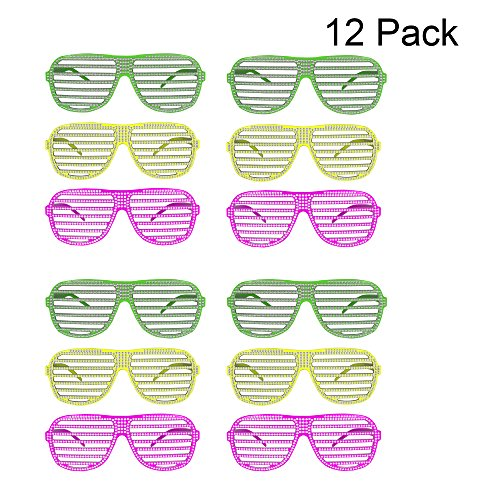 Neon Sparkle Slotted Glasses - 12 Pack -