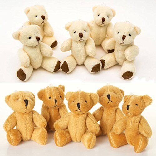 New 10 X Cute and Cuddly Small Teddy Bears - 5 X Brown and 5 X White - Gift Present 3 inches ()