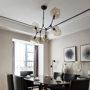 Pendant lights Nordic Chandeliers, Postmodern Magic Beans Art Restaurant Glass Ball Tree Branches Molecular Living Room Chandelier ( Color : Black , Edition : 6 heads )
