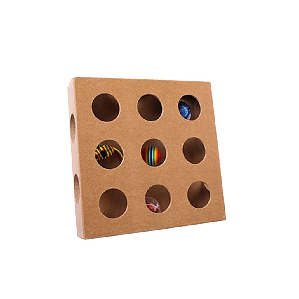 MagiDeal Caja de Madera Cuadrada con Agujeros Gatito Gato Juguete Interactivo Entrenador Inteligente: Amazon.es: Juguetes y juegos