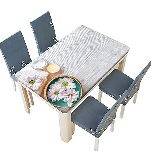 Tea Nail Spa Green - PINAFORE Tablecloth spa Nail Care with Tea Candle Wooden Background top View Table Top Cover W53 x L92.5 INCH (Elastic Edge)