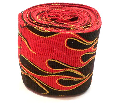 Wolfgang - Professional Hand Wraps - Custom Designs - Boxing - Kickboxing - MMA - Muay Thai 180' (Flames)