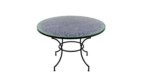 Mesa de jardín redonda con mosaico marroquí Ø 120 cm mesa de ...