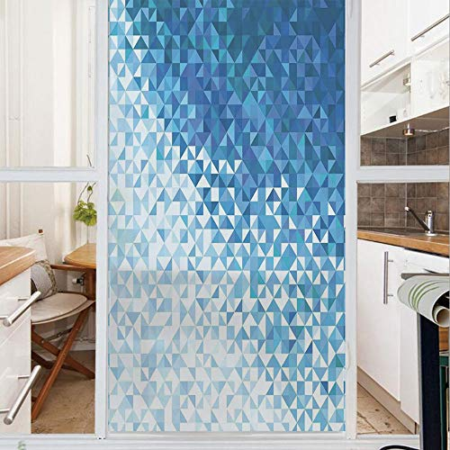 Decorative Window Film,No Glue Frosted Privacy Film,Stained Glass Door Film,Geometric Image with Mosaic Digital Vector Vivid Ombre Colored Image,for Home & Office,23.6In. by 35.4In Dark Blue and White