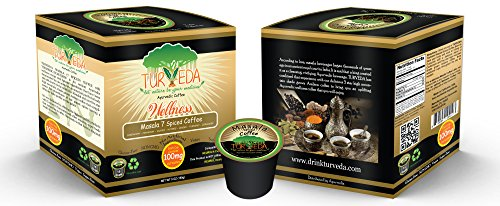 TURVEDA Golden Turmeric Chai Coffee, Arabica Blend for Keurig K-Cup Brewers, 95% Curcumin Supplement For Cardiovascular Support & Healthy Aging, 100% Natural,15 Single Serve Cups - incensecentral.us