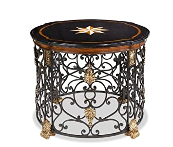 1PerfectChoice Black Stone Shell Accent Round Top Gold Leaf Metal Base Entry Table