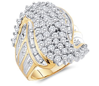 Size - 7 - 10k Yellow and White Two 2 Tone Gold Large Round Cut Womens Ladies Anniversary or Right Hand Diamond Ring Band 24mm (2.0 (Round Diamond Right Hand Ring)