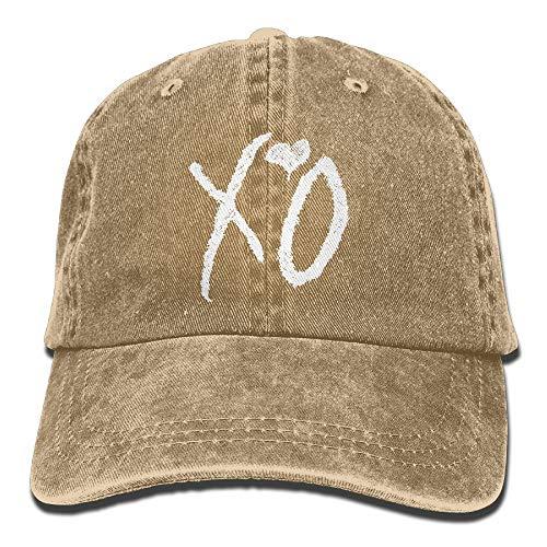 Unisex Washed Retro Denim Hats XO The Weeknd Heart Truck Driver Hat Modern Adjustable Baseball ()