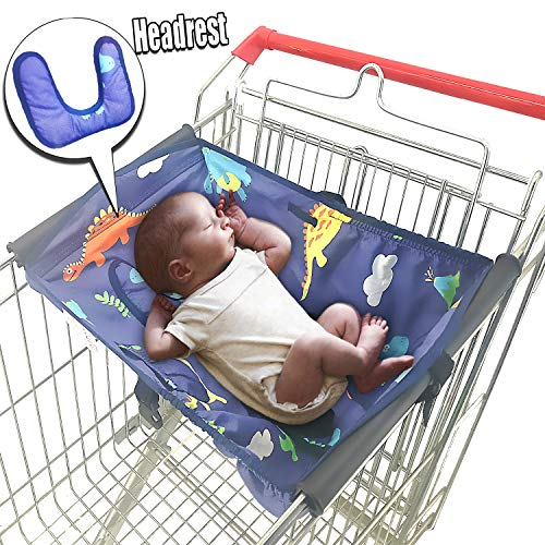 Soft Headrest Attached, Baby Shopping Cart Hammock for Newborn with Free Portable Carry Bag   Grocery Cart Hammocks Cart Covers for Infants Toddlers, Universal Fits All Shopping Carts (Dinasour) from Cozyin Baby