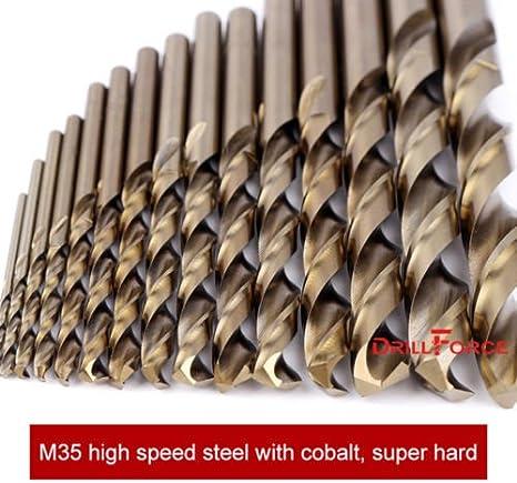 5//16 DRILLFORCE10-piece 5//16 Round Shank HSS M35 Cobalt Twist Drill Bits for Metal