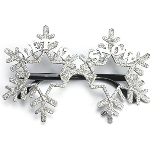 Novelty Glittered Christmas Decoration Fanci-Frames Party Accessory Grey Snowflake - Eyeglasses Christmas