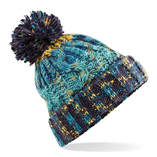 - Beechfield Unisex Adults Corkscrew Knitted Pom Pom Beanie Hat (One Size) (Marine Splash)