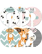 Baby Closet Size Dividers, Cute Animal Nursery Clothes Organizer, Baby Closet Dividers from Newborn Infant to 24 Months, Baby Shower Set for Boys and Girls, 7 Pack.