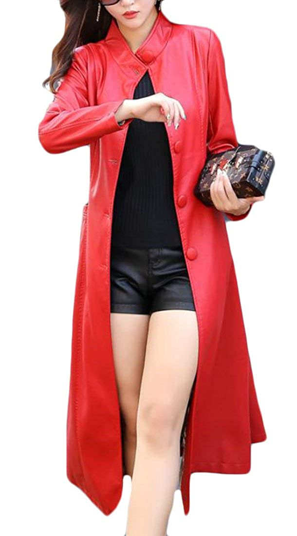 Wofupowga Women Belt Fall-Winter Single Breasted Faux-Leather Outwear Trench Coat