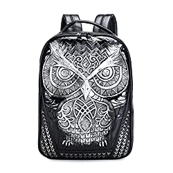 Cool 3D Owl Backpack Big Laptop Backpacks Women and Men Bagpack Male Backpacks Silver