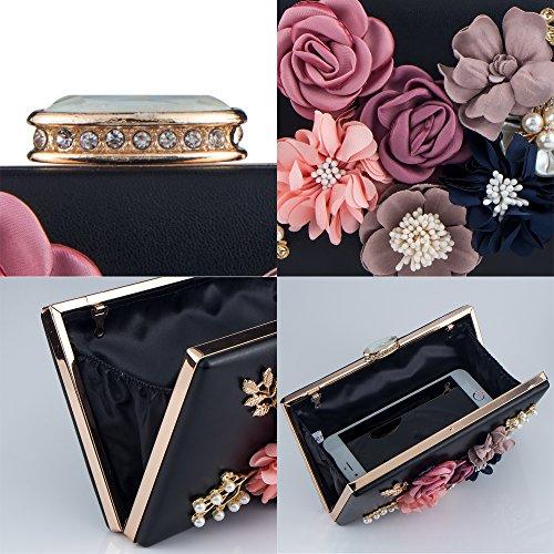 Purses Handbag Clutches Shoulder Flower Bridal Bag Women's Beaded Pearl Evening Bagood Black Wedding for Bags ZpRwTWq