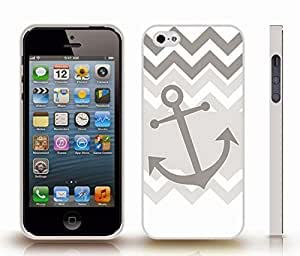 iStar Cases? iPhone 5/5S Case with Chevron Pattern Grey/ Dark Grey Stripes Grey Anchor , Snap-on Cover, Hard Carrying Case (White)