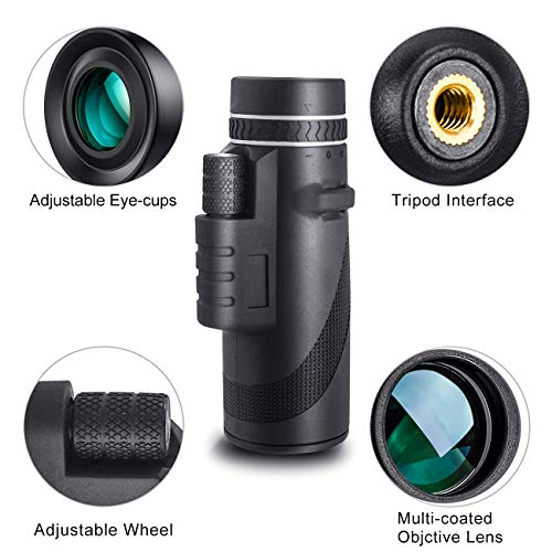 EAGWELL Monoculars Telescope, 40x60 Zoom Monocular Telescope, Waterproof Monocular Scope for Sporting Events, Concerts, Wildlife, Hunting,Fishing,Travelling
