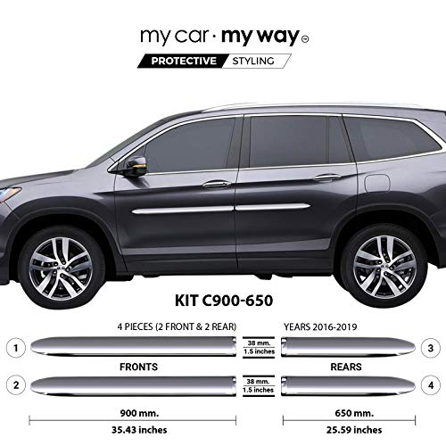 MY CAR MY WAY (Fits) Honda Pilot 2016-2019 Chrome Body Side Molding Cover Trim Door Protector
