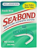 Sea-Bond Denture Adhesive Wafers Lowers Fresh Mint, 30 Count, Pack of 2