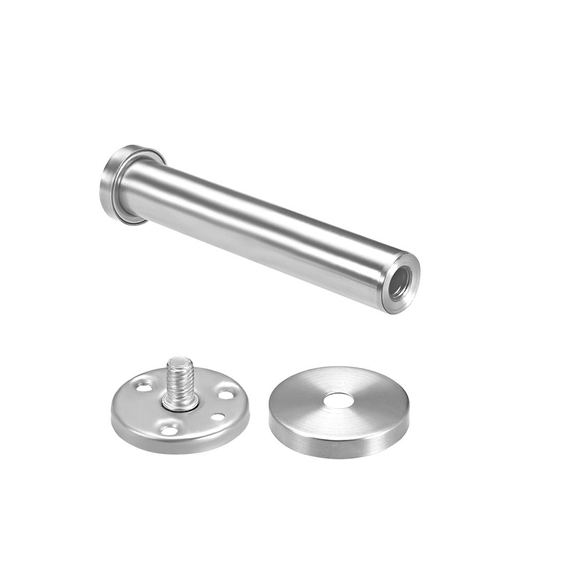 uxcell 2Pcs Wall Mounted Hook Robe Hooks Single Towel Hanger With Screws Stainless Steel, 2.63Inch, Silver