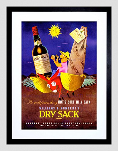 Vintage Advert Wine Alcohol Dry Sack Sherry New Framed Art Print Mount B12X11601