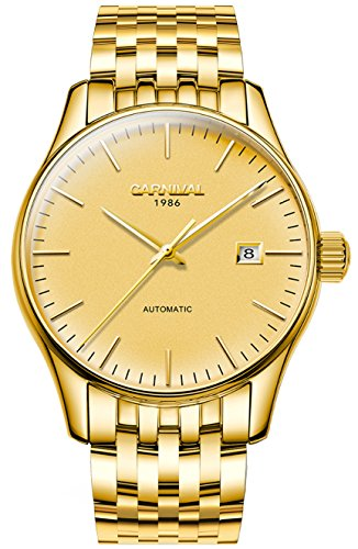 Men's Automatic Mechanical Watch Waterproof Analog Calendar Stainless Steel Simple Business Wrist Watches (Steel Band-Gold color) ()