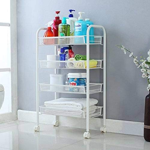(Binlin Storage Cart, Exquisite Honeycomb Net Four Tiers Storage Cart with Hook Ivory for Kitchen/Bathroom/Office (4-Shelf),White)