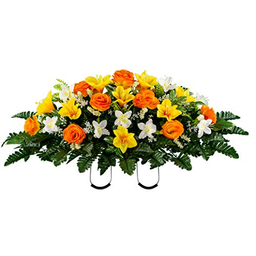 Sympathy Silks Artificial Cemetery Flowers - Realistic Vibrant Roses, Outdoor Grave Decorations - Non-Bleed Colors, and Easy Fit -Orange Yellow Rose Saddle