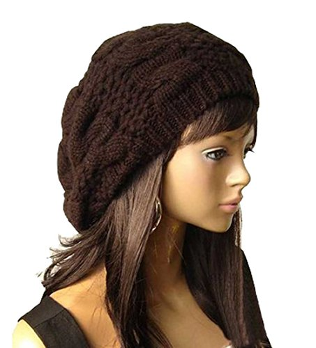 Winter Warm Beanie Baggy Hat Skull Loose Beret Chunky Crochet Cap for Women (How To Crochet A Summer Brim Hat)
